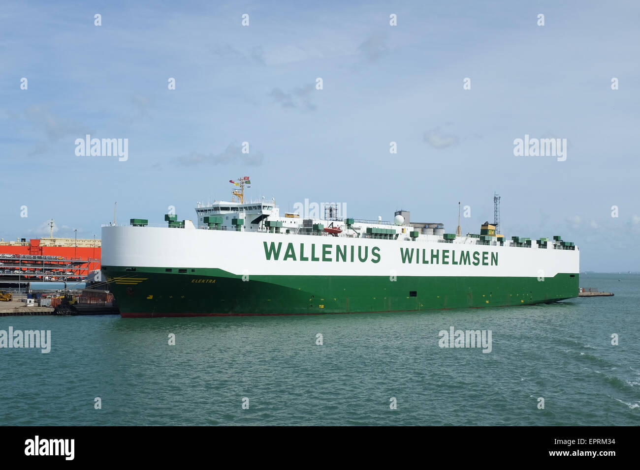 A ship operated by Wallenius Wilhelmsen Logistics, docked in Southampton, England. - Stock Image