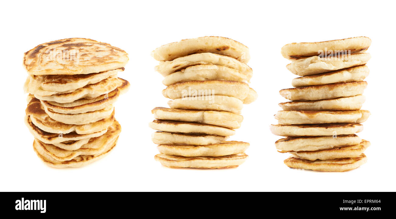 Stack of pancakes isolated - Stock Image