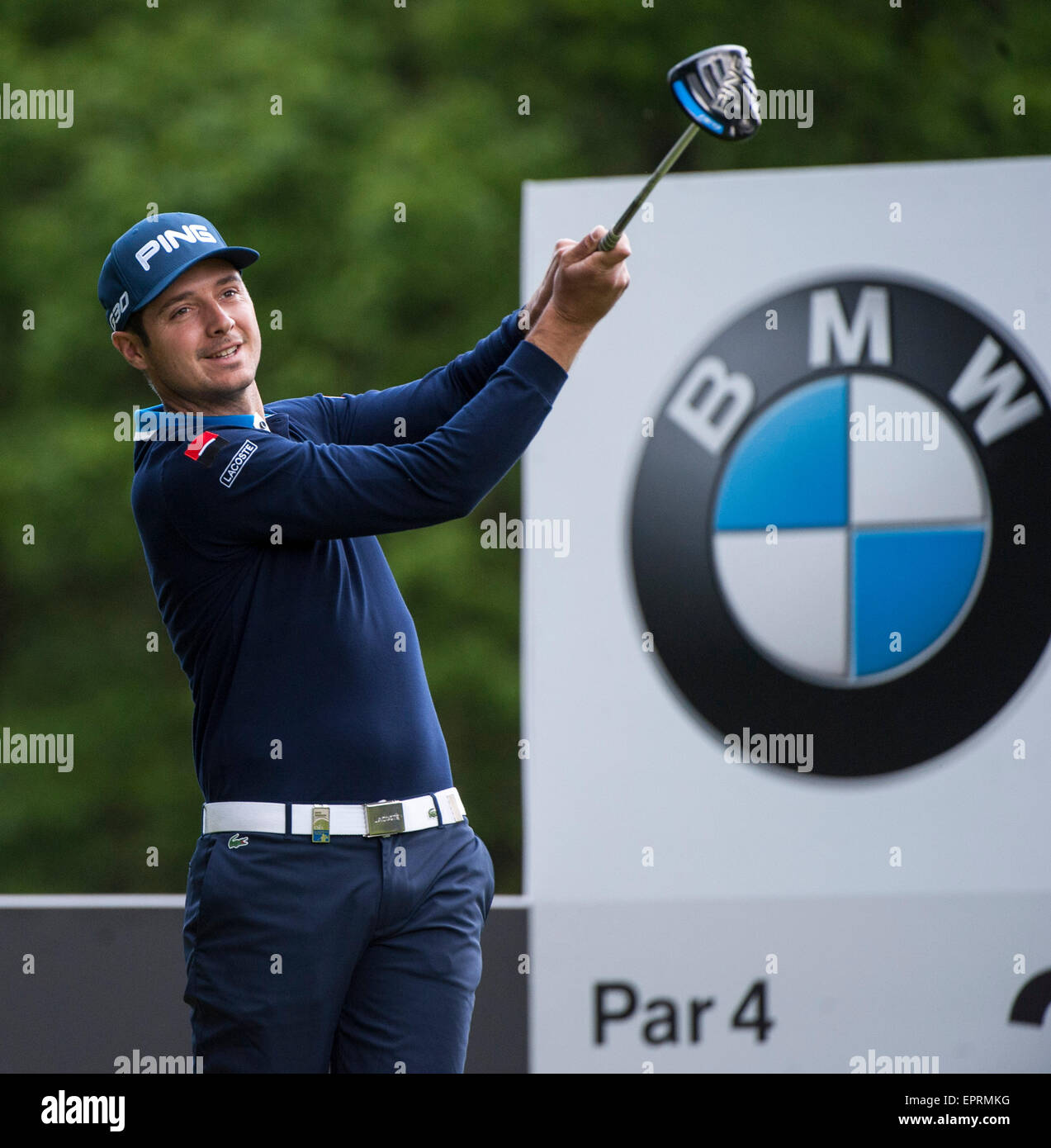 Wentworth, UK. 21st May, 2015. BMW PGA Golf Championship. Round 1. Julien Quesne [FRA] on the Par 4 3rd, during - Stock Image