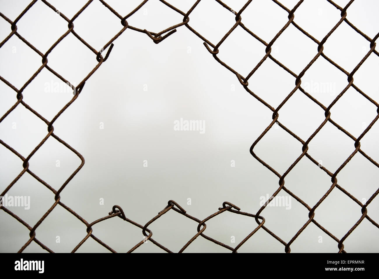 Hole in chain link fence Stock Photo 82885091 Alamy