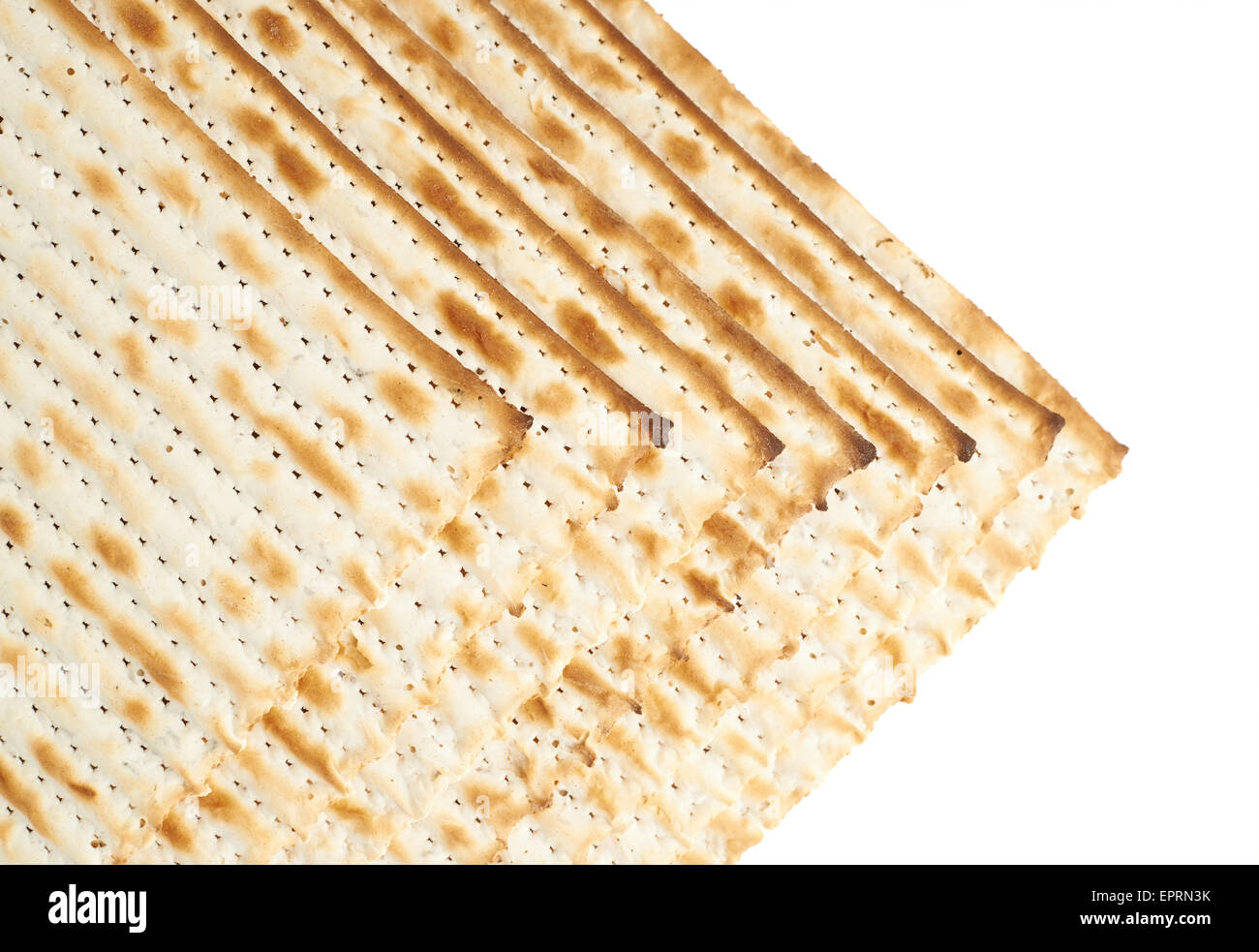 Multiple matza flatbreads lying one over another - Stock Image