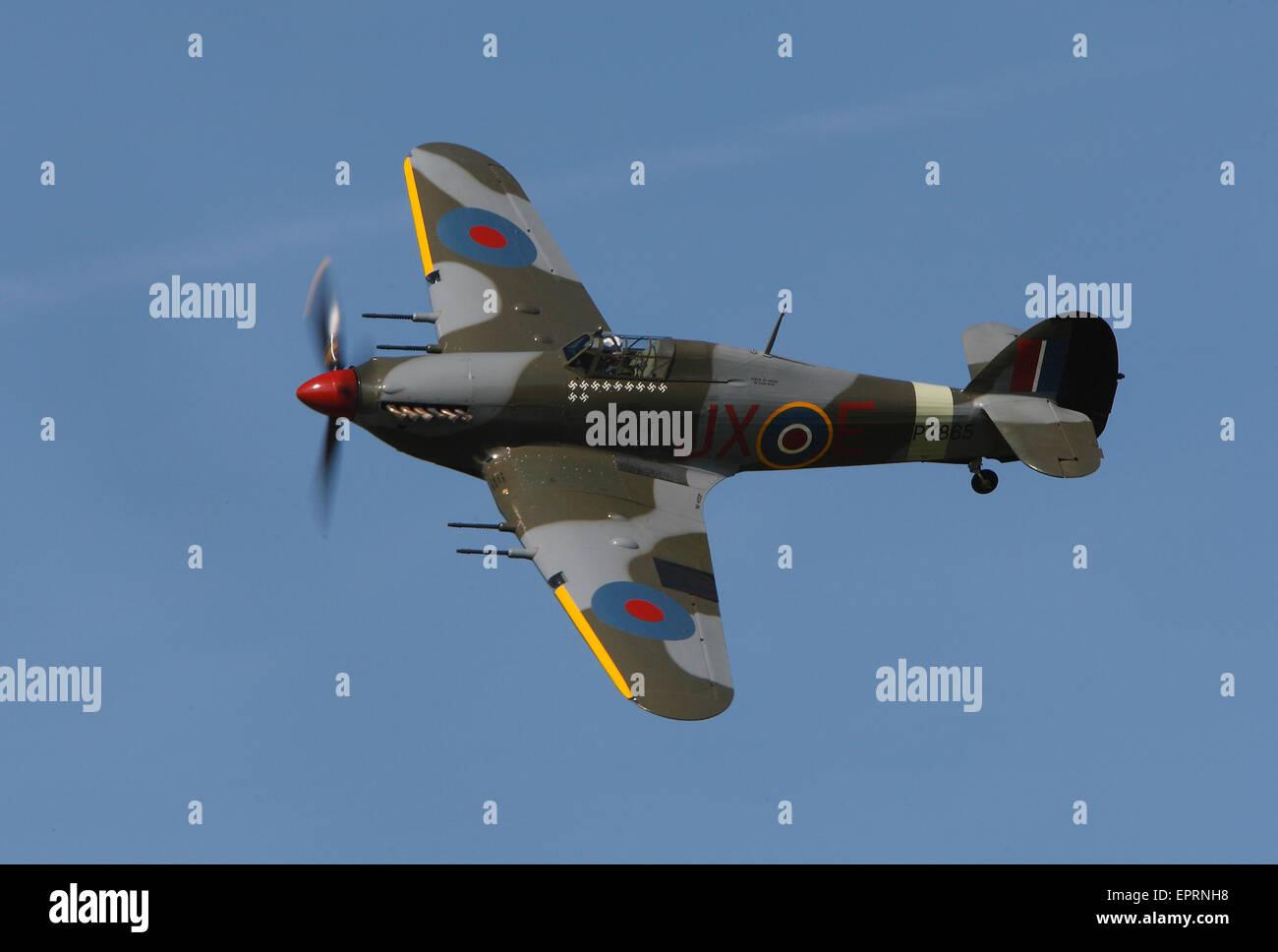 Hawker Hurricane, WW2,  fighter aircraft, warbird, Royal Air Force, RAF, flight - Stock Image