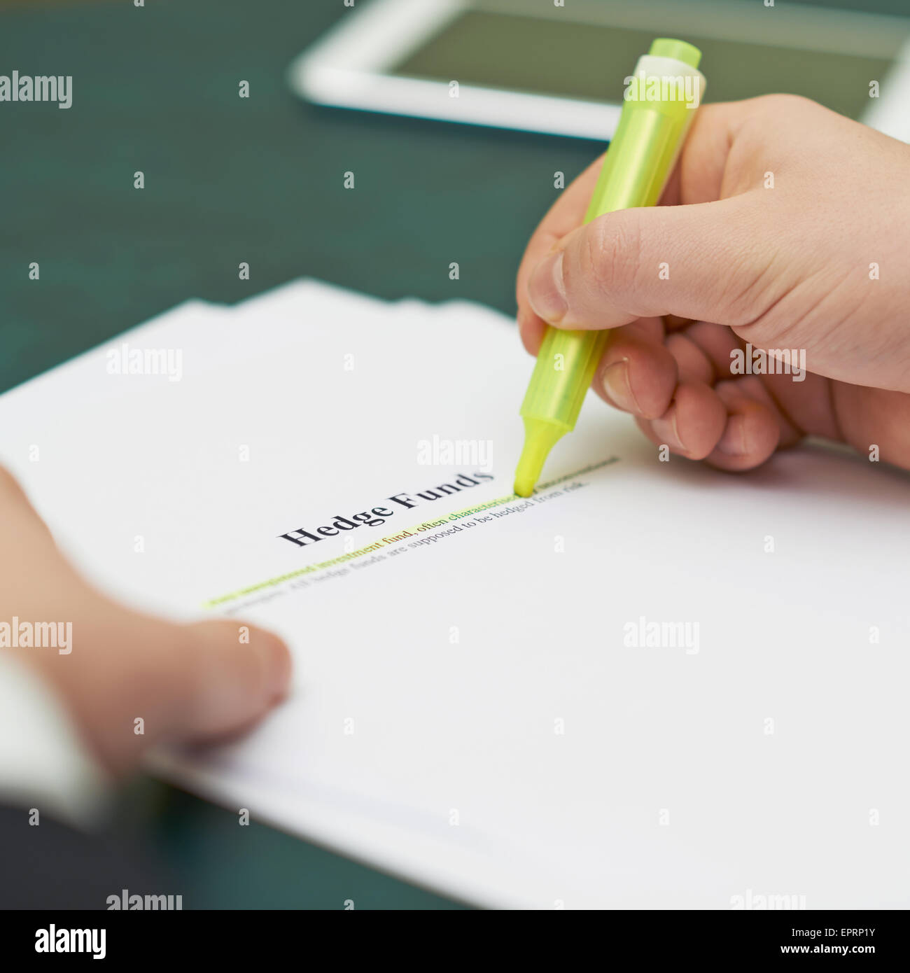 Marking words in a hedge funds definition - Stock Image