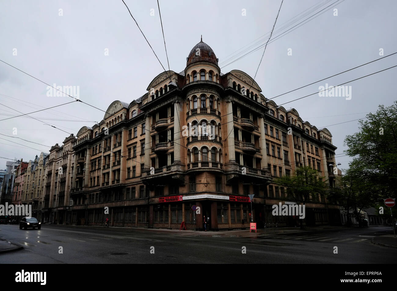 Exterior view of the former KGB, or 'Cheka' headquarters known by locals as the Corner House in Riga capital of - Stock Image