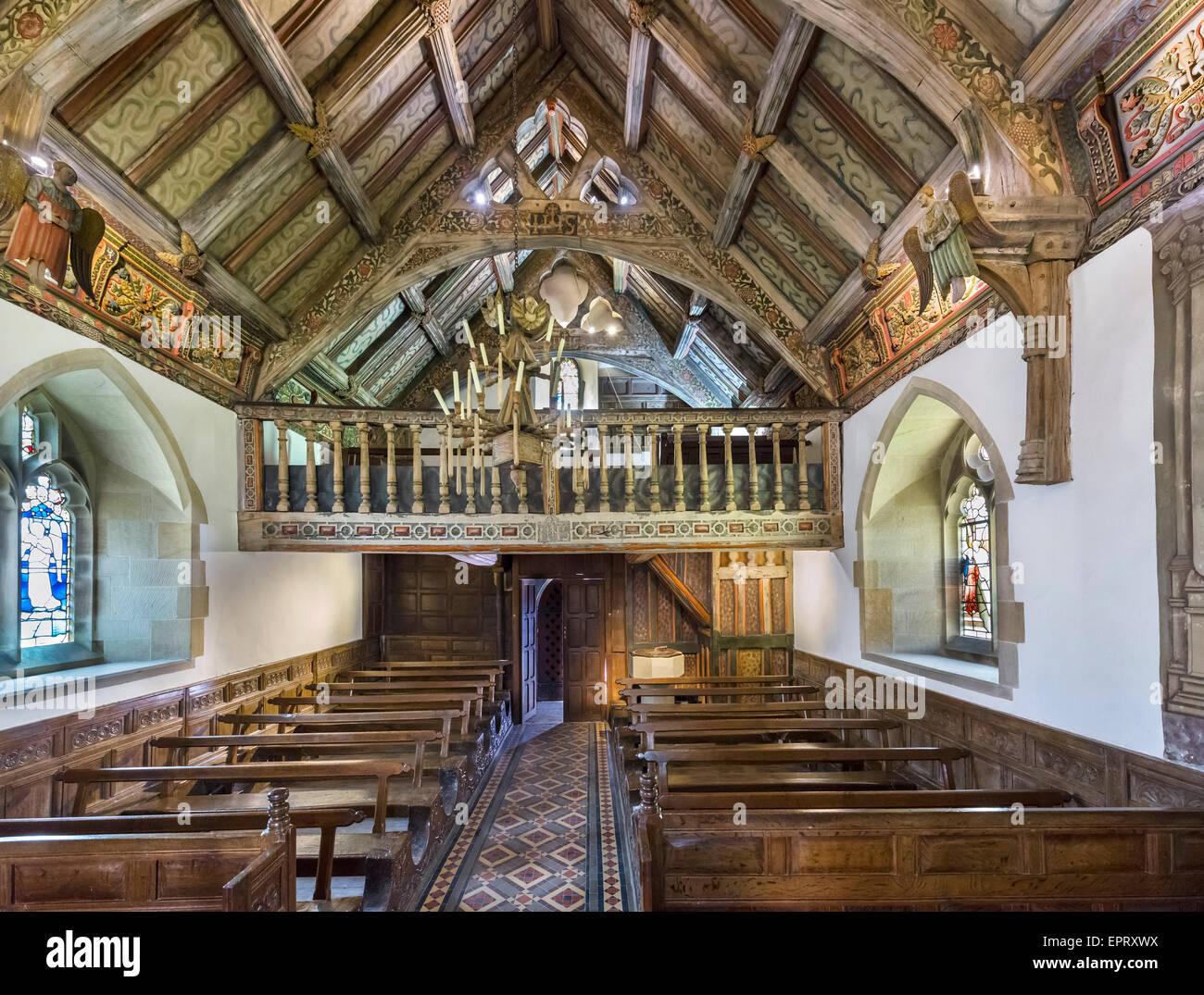 The ornate interior of Rug Chapel, near Corwen, Denbighshire, Wales, UK - Stock Image
