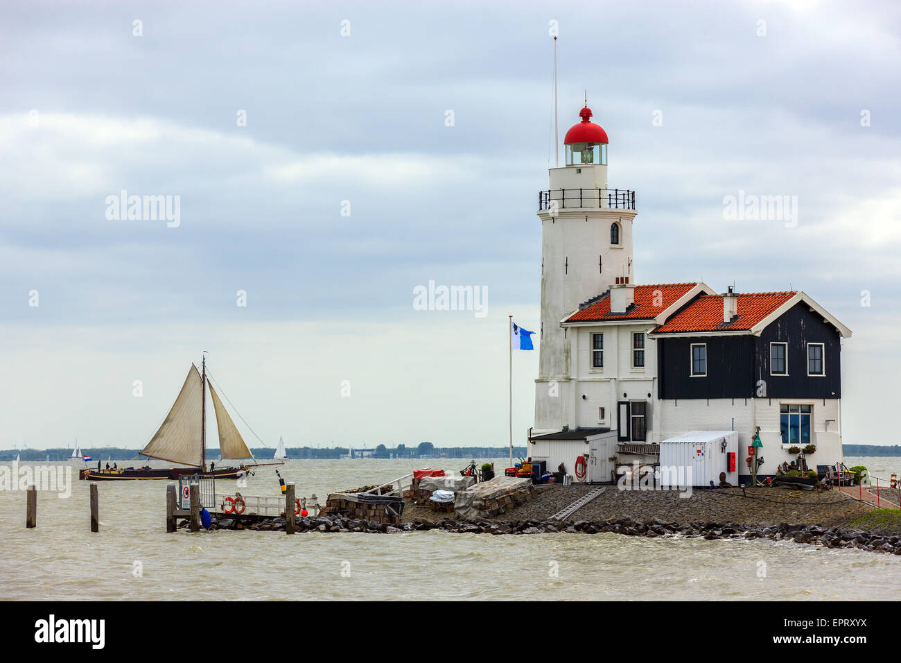 At Marken, close to Amsterdam stands the Lighthouse 'Paard van Marken'. - Stock Image
