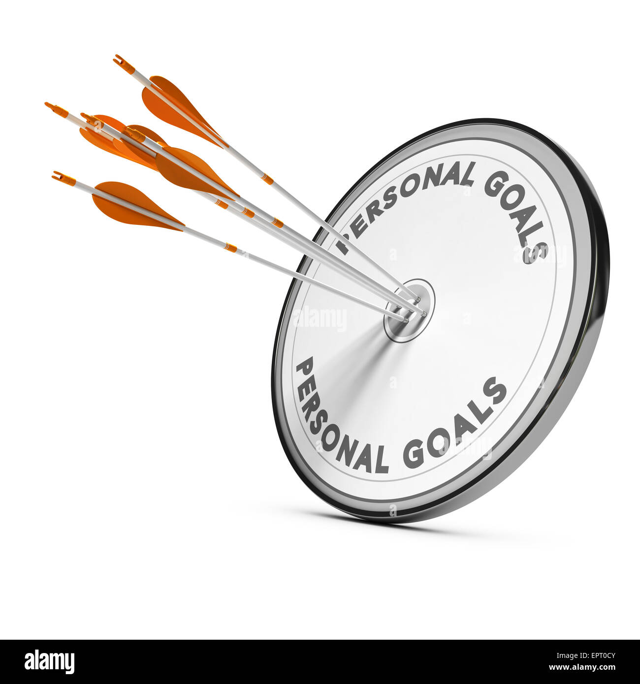 Many arrows hitting the same target, Concept image for business personnal goals or self confidence coaching. - Stock Image
