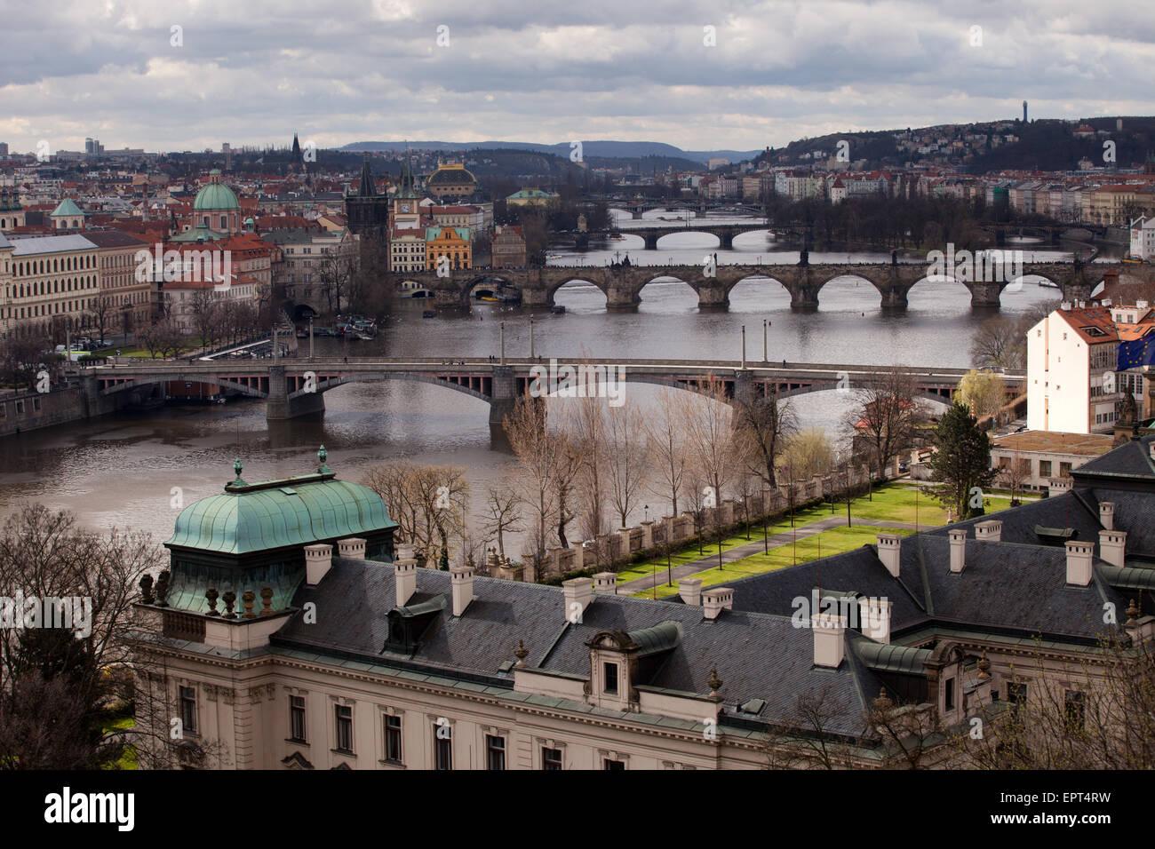 Letna Park: Prague Bridges Stock Photo