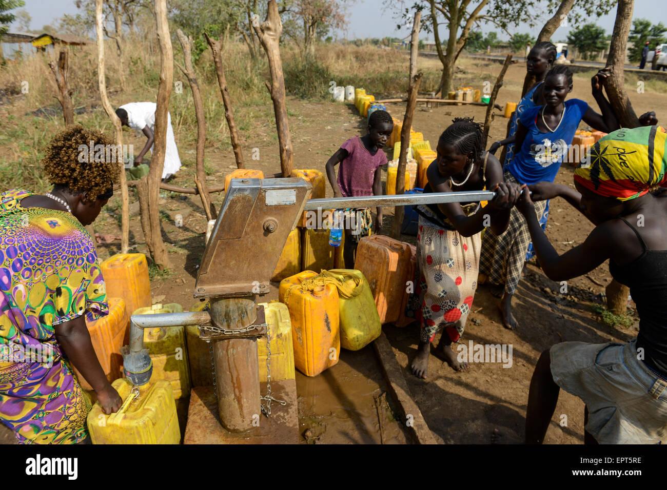 ETHIOPIA Gambela, hand pump set for water supply in village / AETHIOPIEN Gambela, Handpumpe fuer Trinkwasser Versorgung Stock Photo