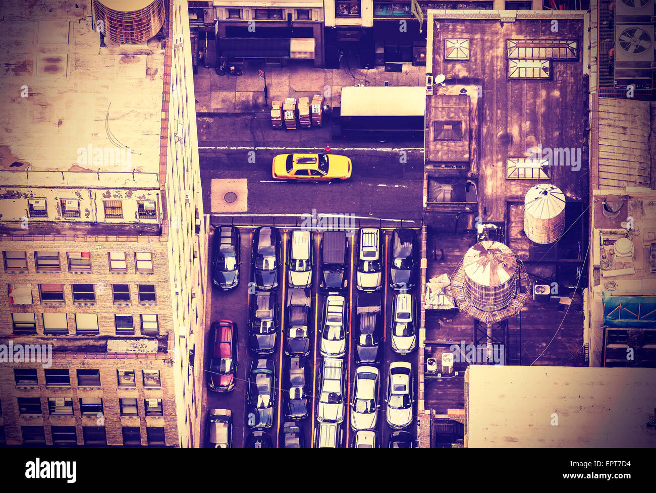 Vintage toned aerial picture of street in New York City, USA. - Stock Image