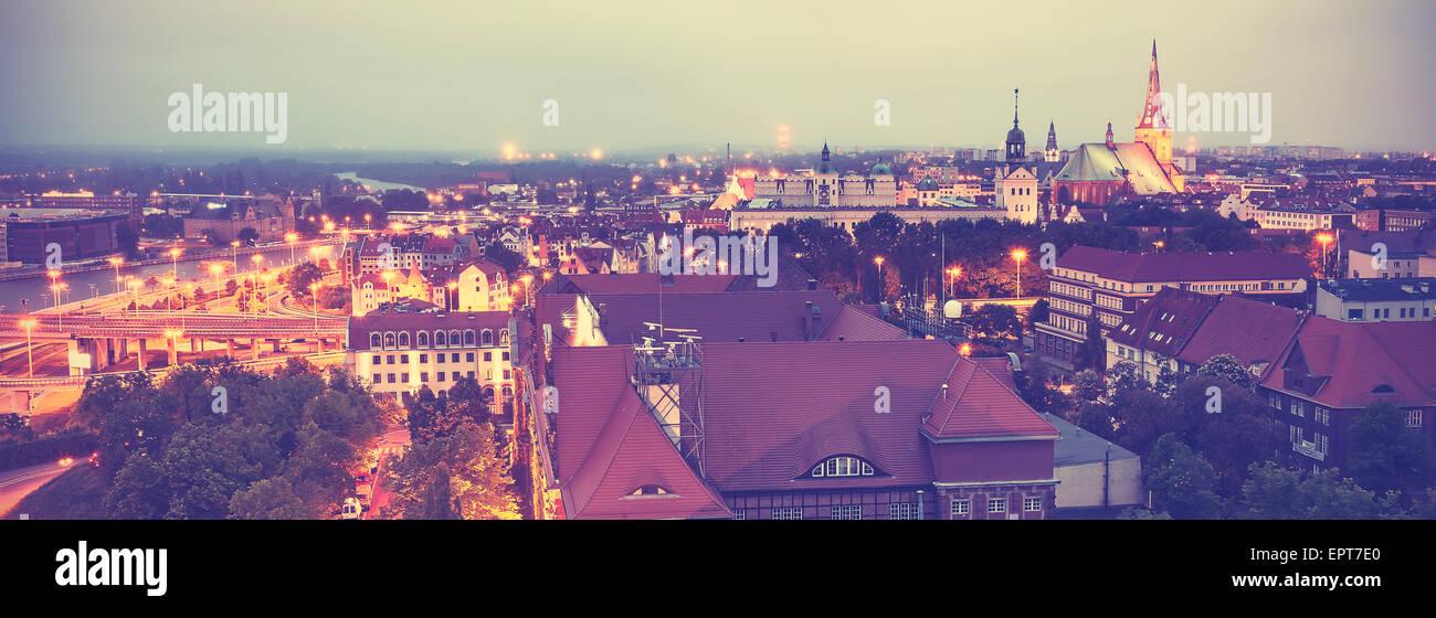 Vintage retro toned panoramic view of Szczecin downtown, Poland. - Stock Image