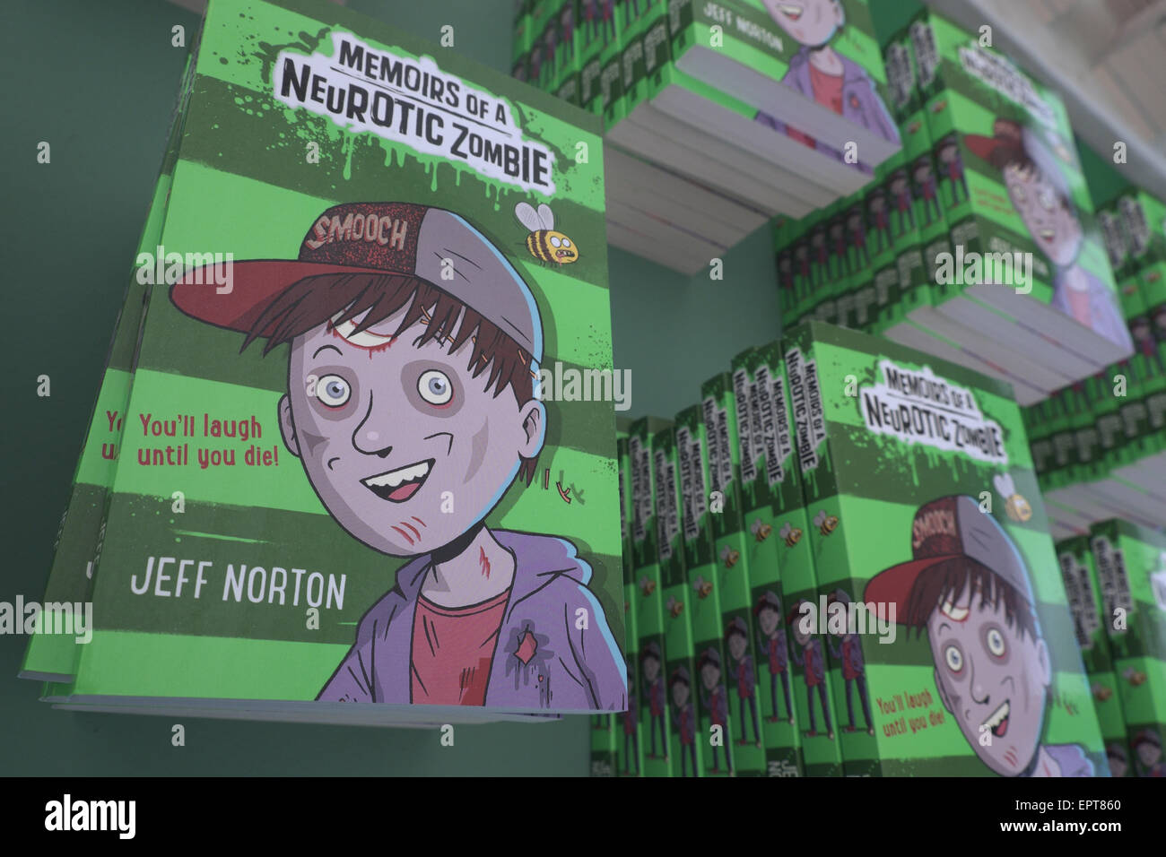 Childrens book by author writer Jeff Norton titled Memoirs of a Neurotic Zombie - Stock Image