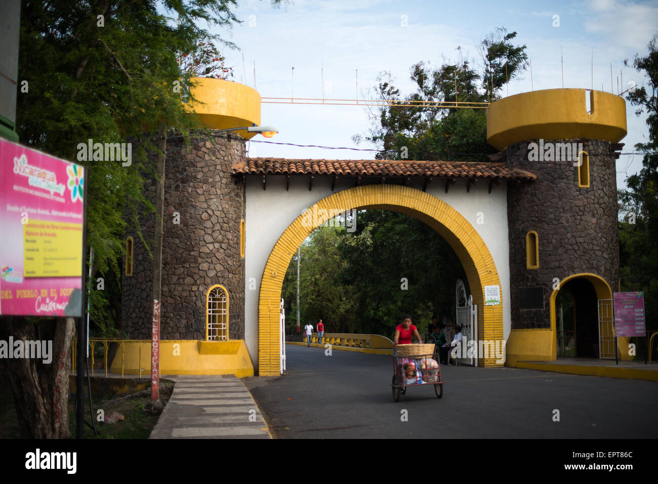 A mock Spanish fort forms the entrance gate to Centro Turistico. Centro Turistico is a 2KM stretch of lakefront - Stock Image