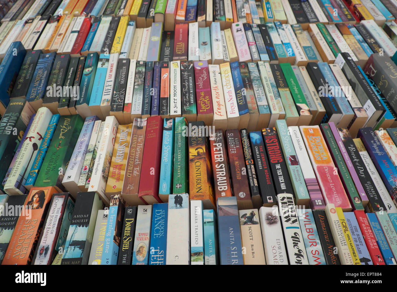 Secondhand paperback books for sale in Hay on Wye Powys Wales UK - Stock Image
