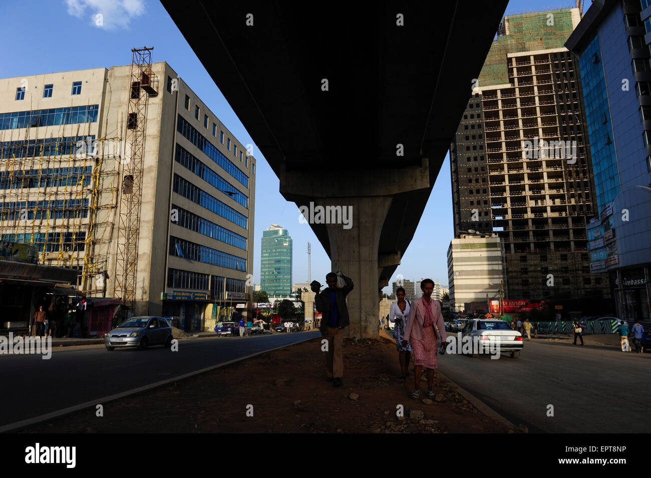 ETHIOPIA, Addis Ababa, construction of light rail network by