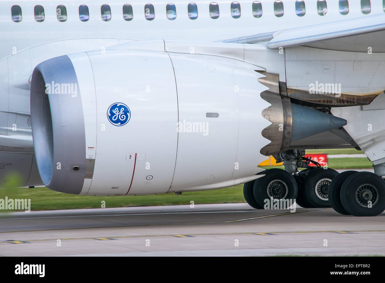 Side view of a Boeing 787 Jet Engine, Manchester Airport - Stock Image