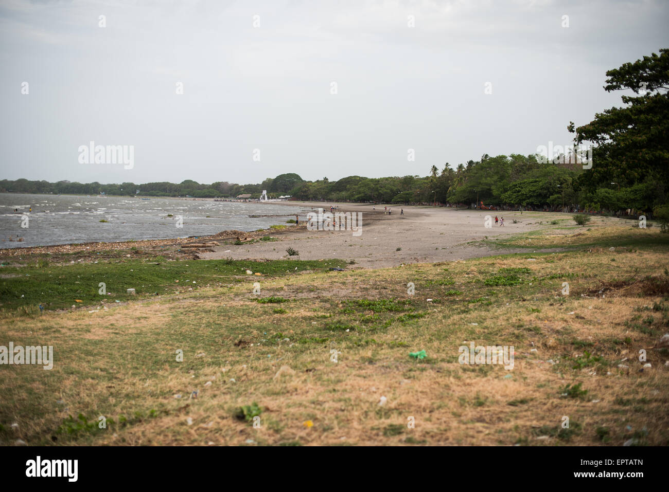 The lakefront along Lago Nicaragua next to Granada. Centro Turistico is a 2KM stretch of lakefront with parks, walkways, - Stock Image