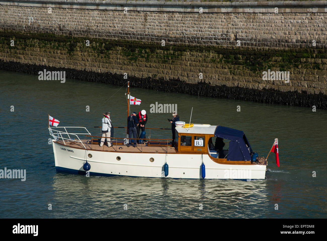 Ramsgate, Kent 21 May 2015. Motor Yacht and Dunkirk veteran, Lazy Days leaving Ramsgate Royal Harbour for Dunkirk. - Stock Image