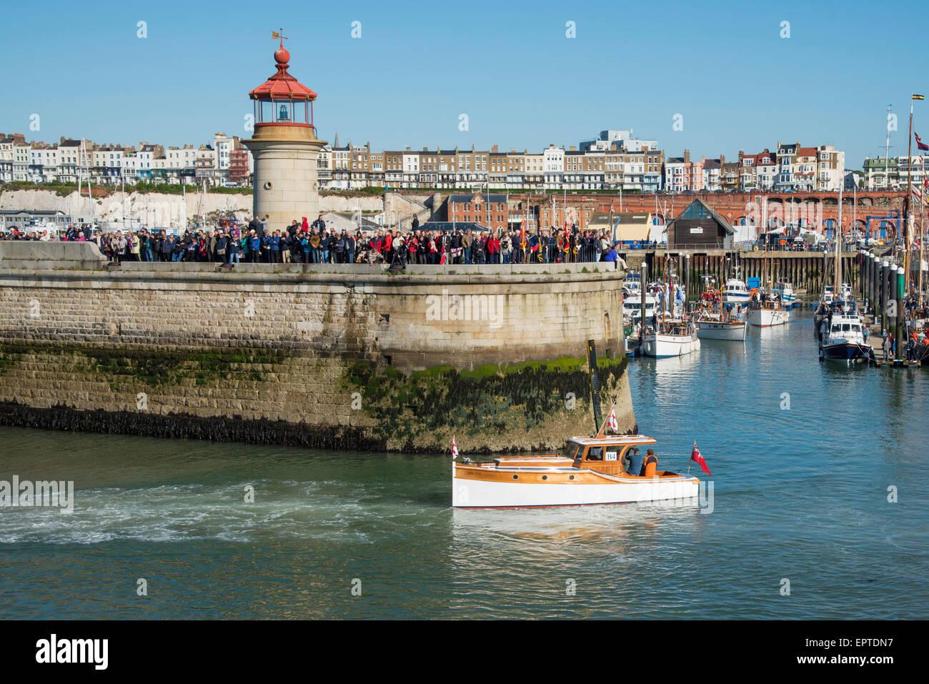 Ramsgate, Kent 21 May 2015. Motor Pinnace and Dunkirk veteran, MB 278 leaving Ramsgate Royal Harbour for Dunkirk. - Stock Image