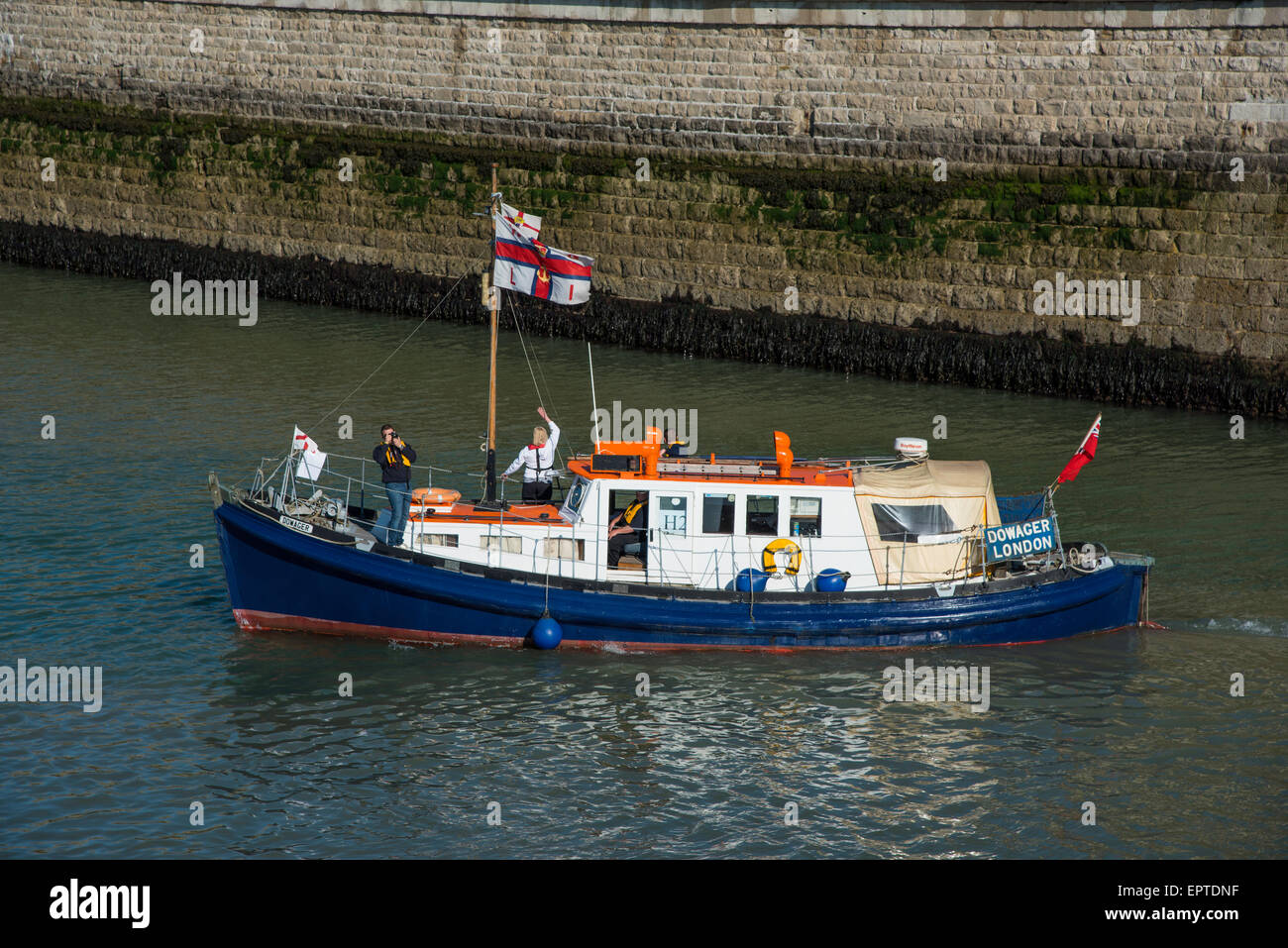 Ramsgate, Kent 21 May 2015. Dowager (previously the Shoreham Lifeboat Rosa Woodd and Phyllis Lunn) leaving Ramsgate - Stock Image