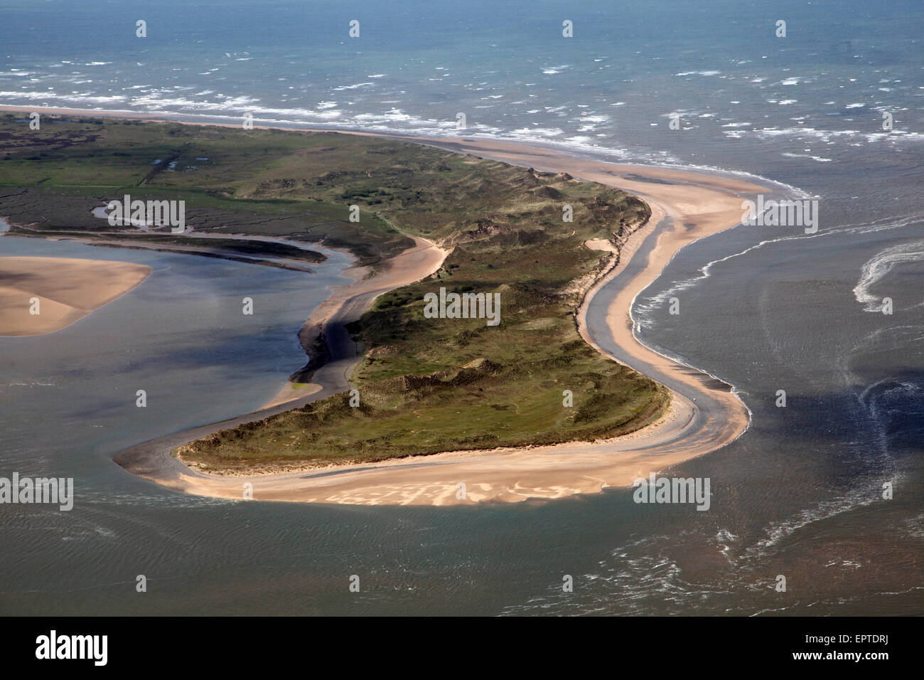 aerial view of the spit of land North End Haws by Scarth Channel near Barrow-in-Furness - Stock Image