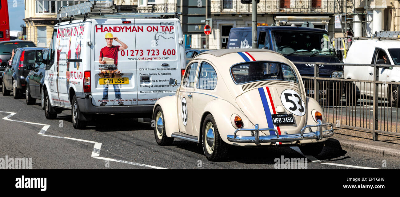 Iconic replica of Volkswagen Beetle motorcar as featured in the Disney 'Herbie' movies with appropriate - Stock Image