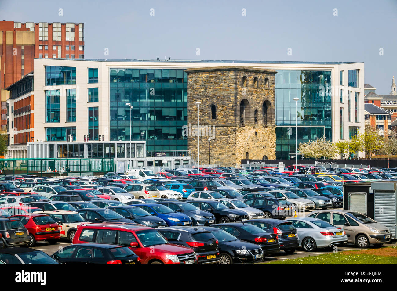 Car Park Over Looking Central Station Wagon Hoist Leeds Wellington Place West Yorkshire, The Contrast of New and - Stock Image