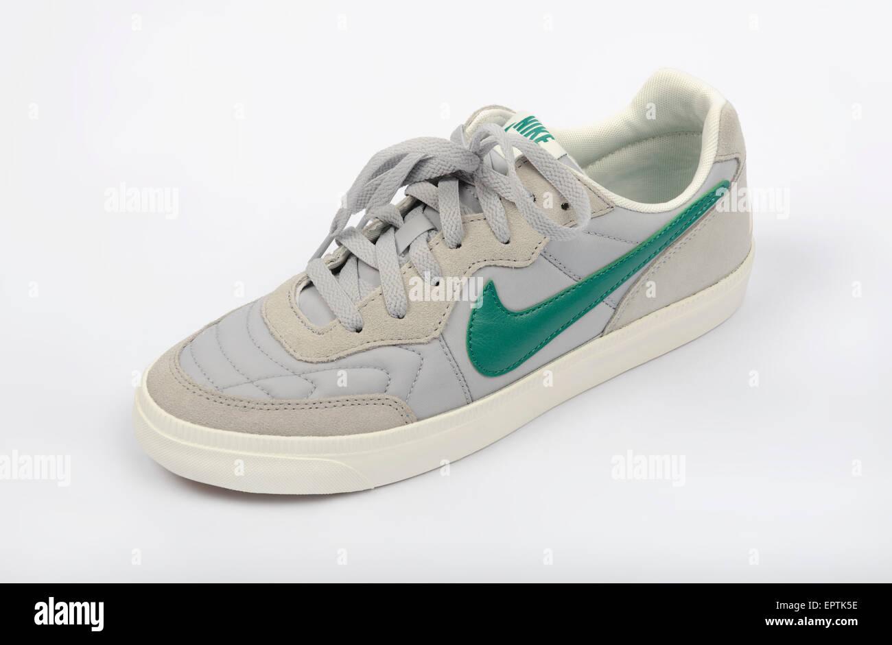 Nike walking shoe featuring a green