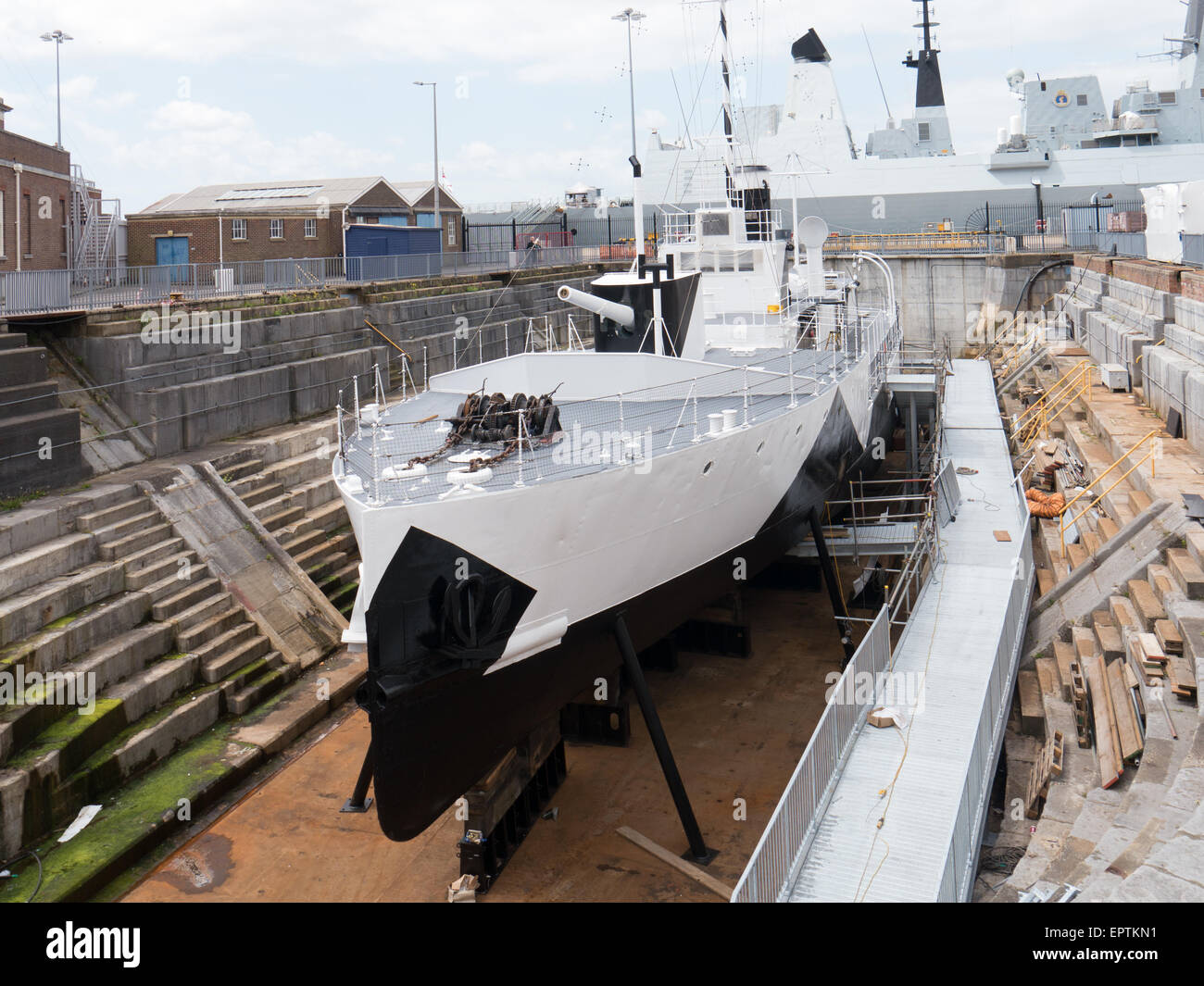 HMS M33 an M29 Class Monitor of the Royal Navy, ready to be opened to the public in 2015 at Portsmouth Historic Stock Photo