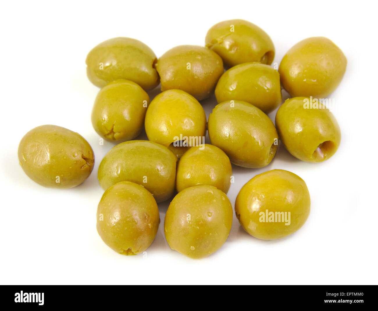 Olives filled with anchovy on a white background. Typical spanish tapa Stock Photo
