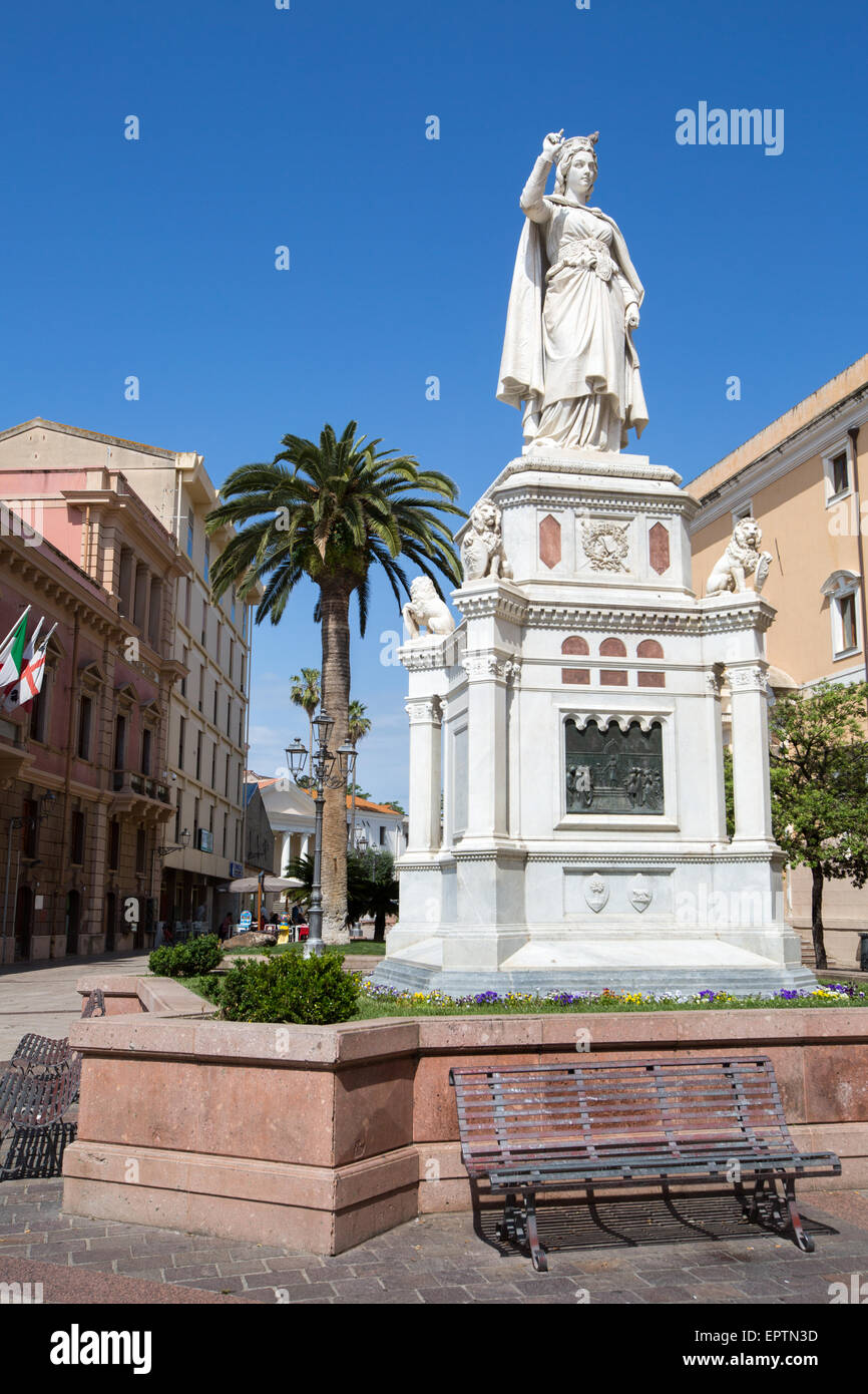 Monument To Eleanora Of Arboria [Heroin Of Sardinian Independence] Central Oristano Sardinia Italy - Stock Image