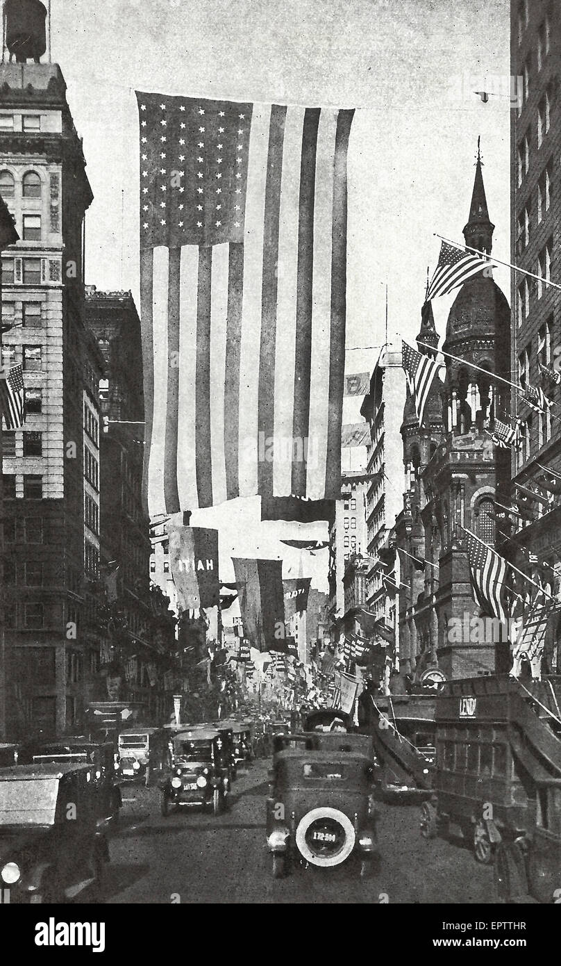 'The Avenue of the Allies' - Looking North from Forty-Second Street, along Fifth Avenue, New York City, - Stock Image