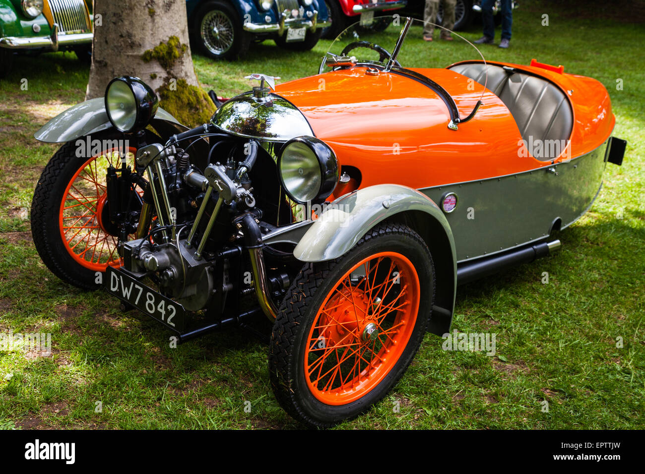 Morgan Aero antique British sports car on display at a meet in Vancouver - Stock Image