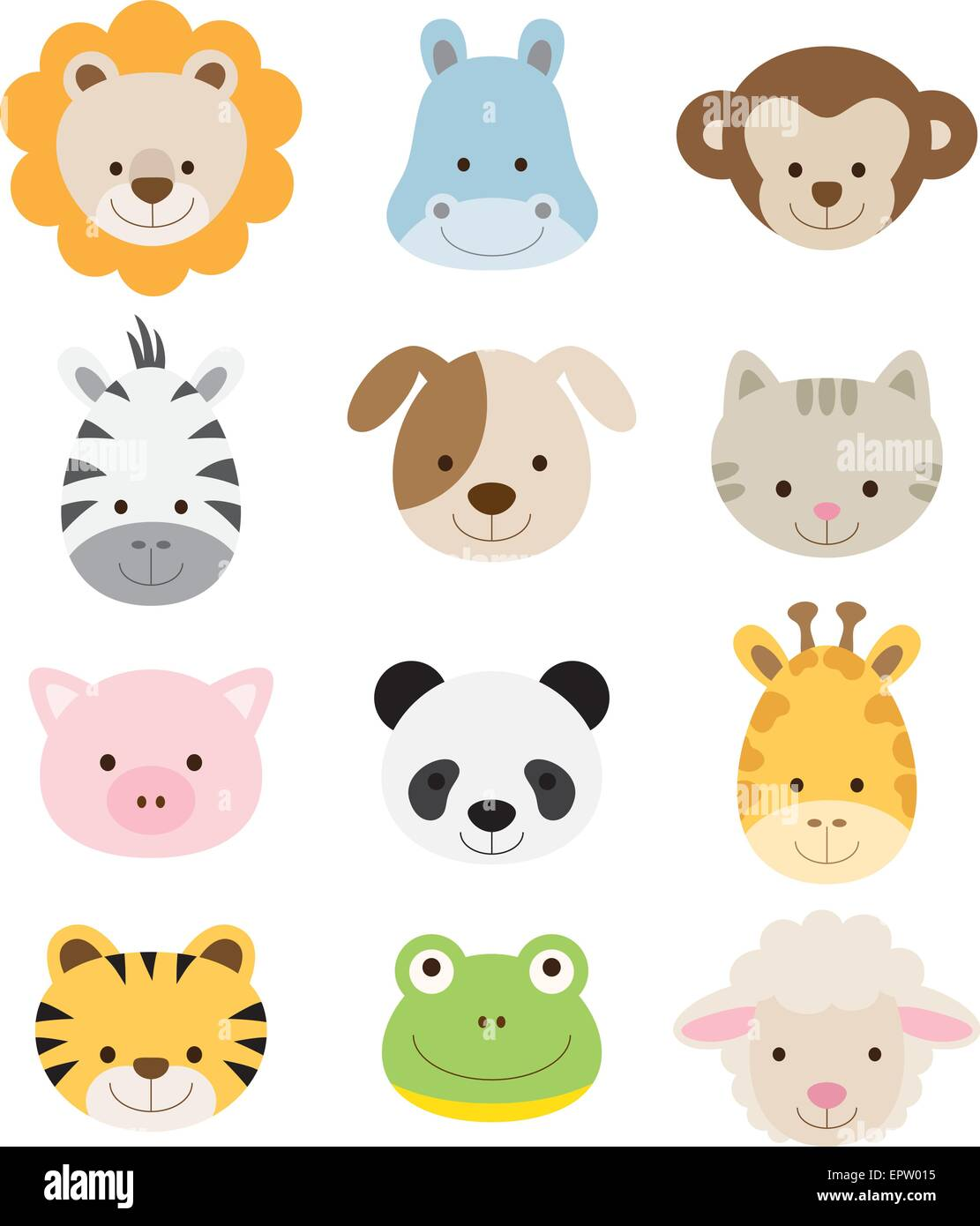 Vector illustration of animal faces including lion, hippo