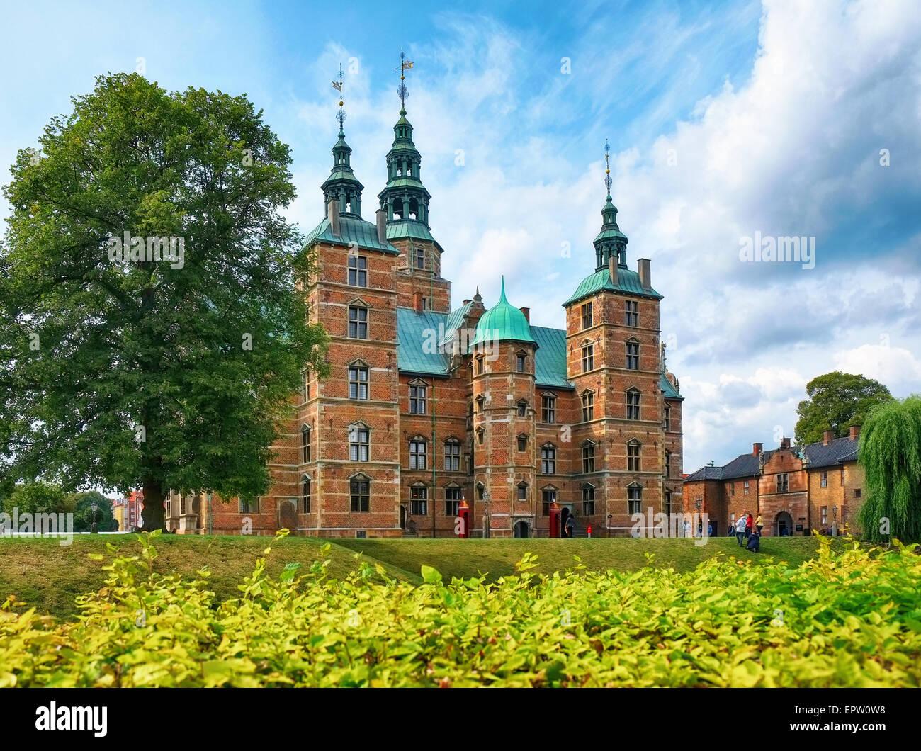 Rosenborg Castle in Copenhagen, Denmark.  It was built in the Dutch Renaissance style in 1606 during the reign of - Stock Image