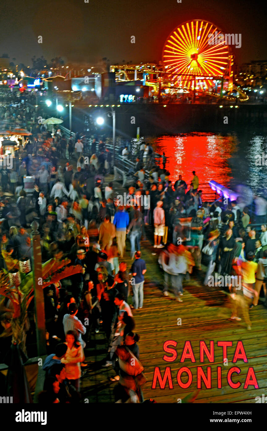 Santa Monica Pier, California, in the summer, offers festivals such as Glow, and Twilight dance concerts. - Stock Image