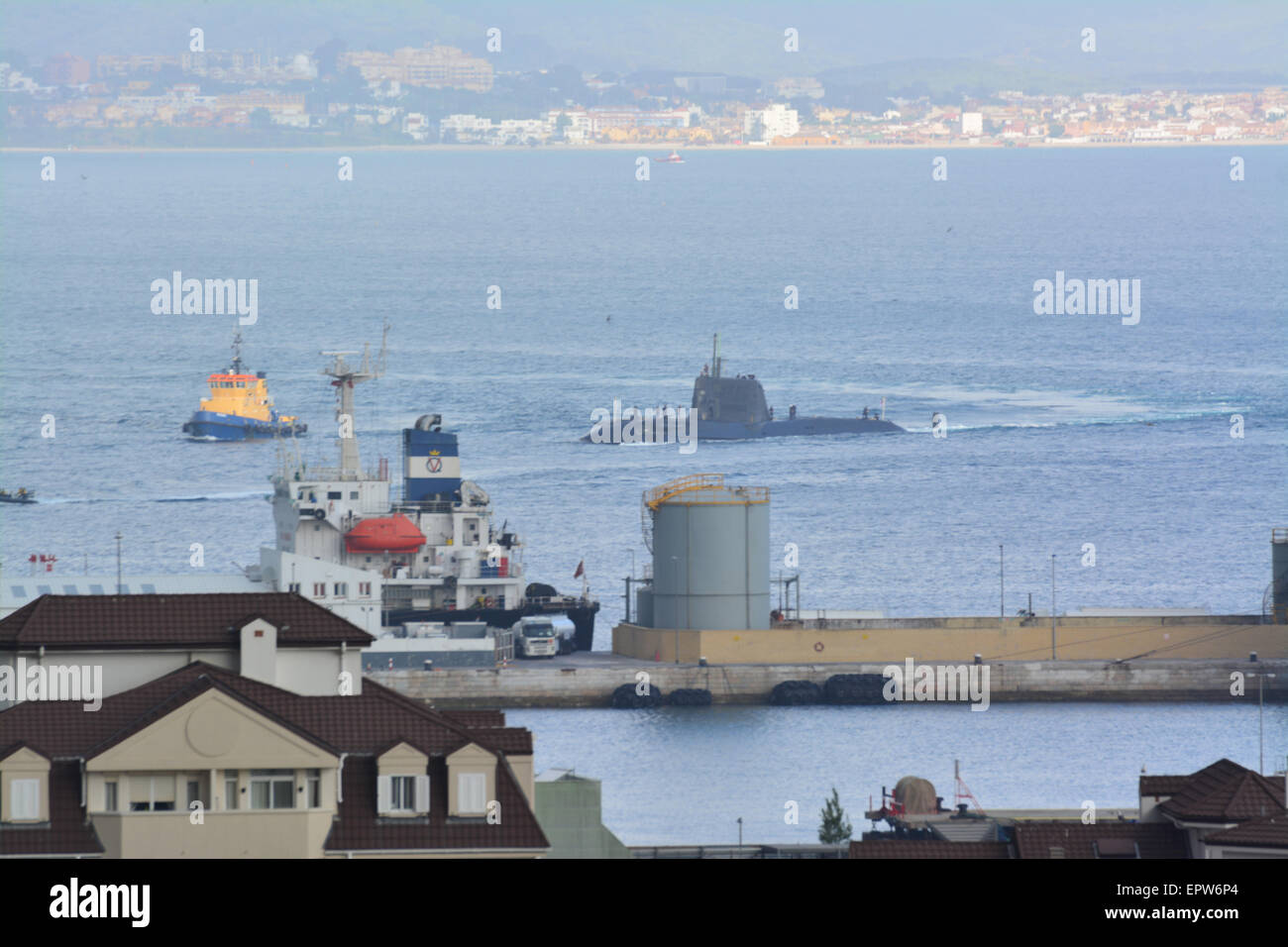 Gibraltar - 21st May 2015 - The arrival of an Astute class nuclear submarine into the Bay of Gibraltar today saw - Stock Image