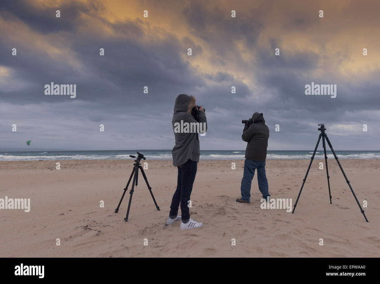 Photographers, Tarifa, Cadiz, Costa de la Luz, Andalusia, Spain. - Stock Image