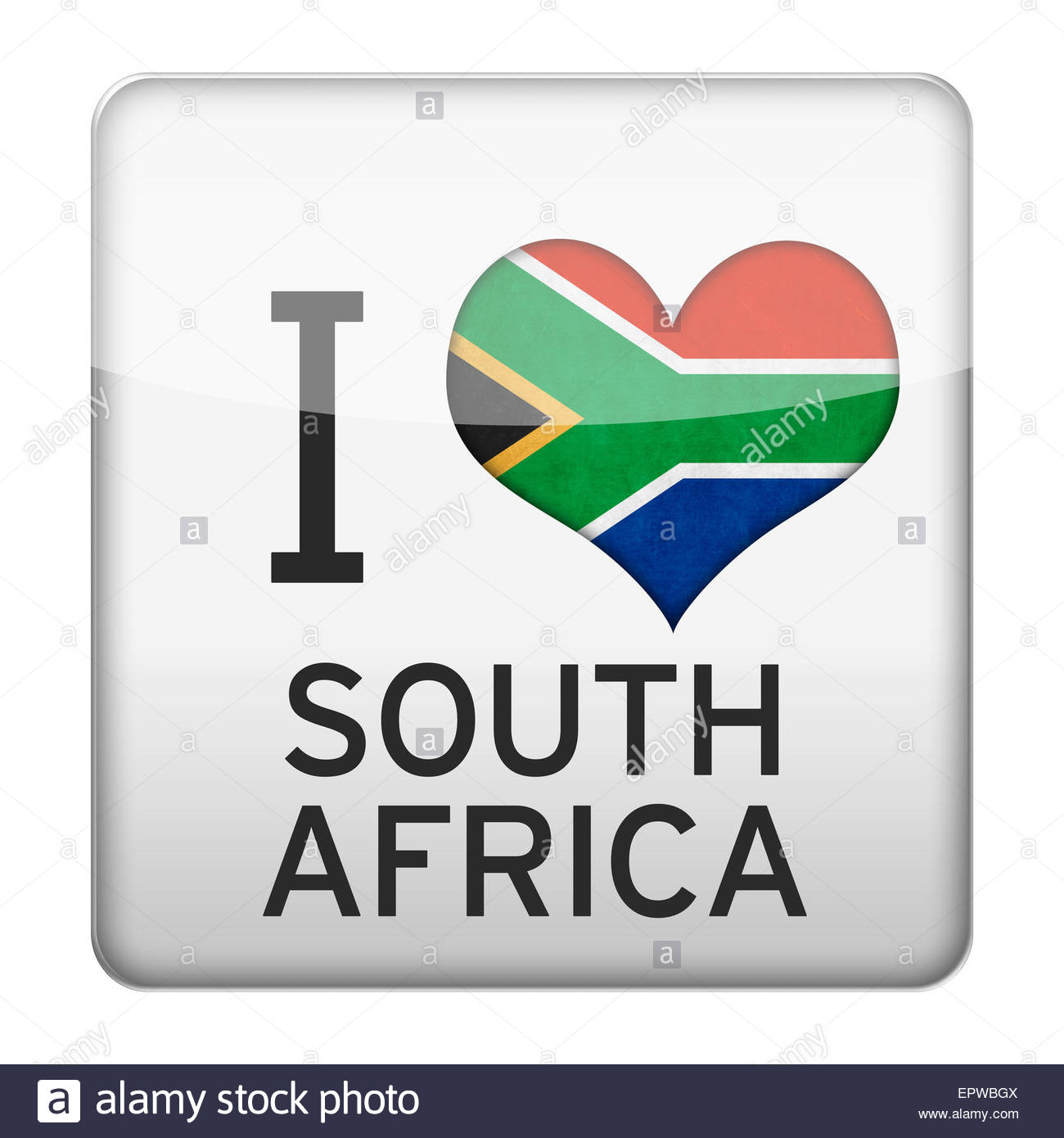 I Love South Africa flag icon - Stock Image