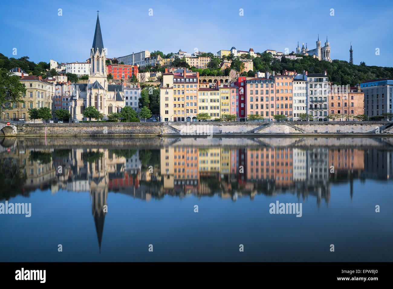 Beautiful view of Saone river in Lyon, France - Stock Image