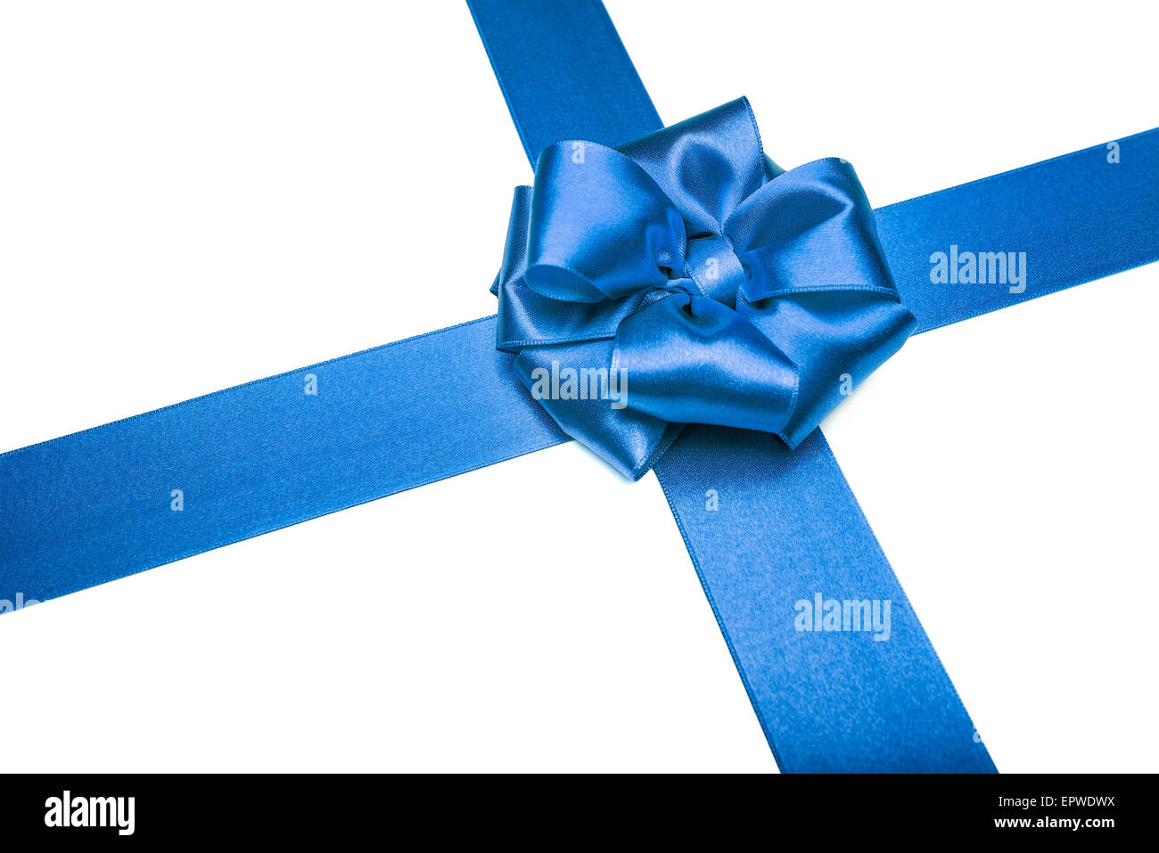 Blue ribbons with bow - Stock Image