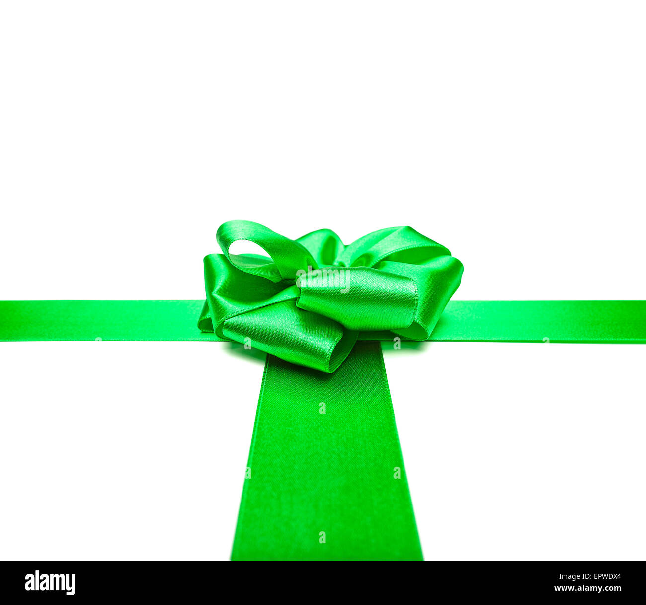 Green ribbons with bow - Stock Image