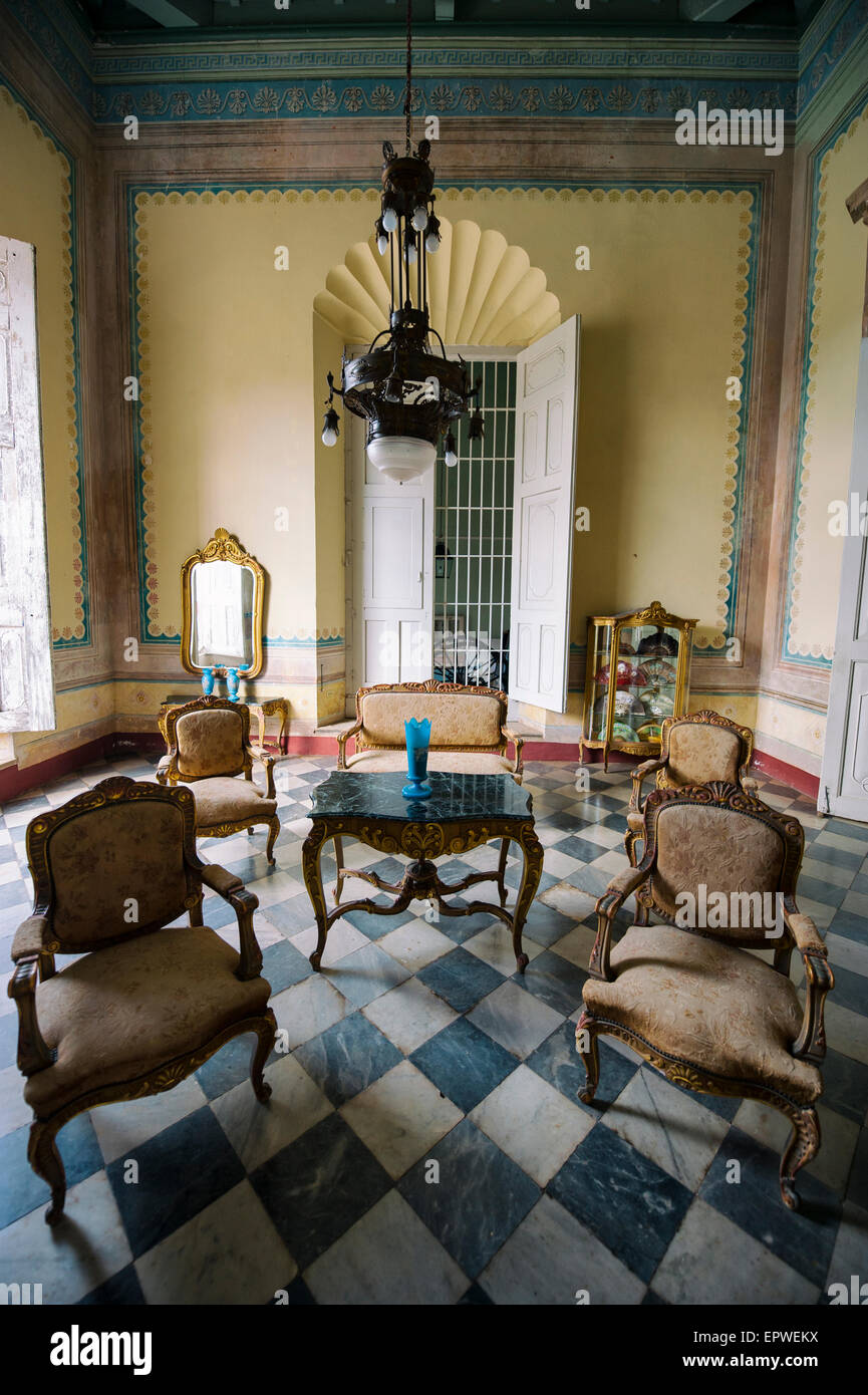 TRINIDAD, CUBA - MAY 31, 2011: Preserved interior of the Museum of History (Museo Historico) includes antique furniture. - Stock Image