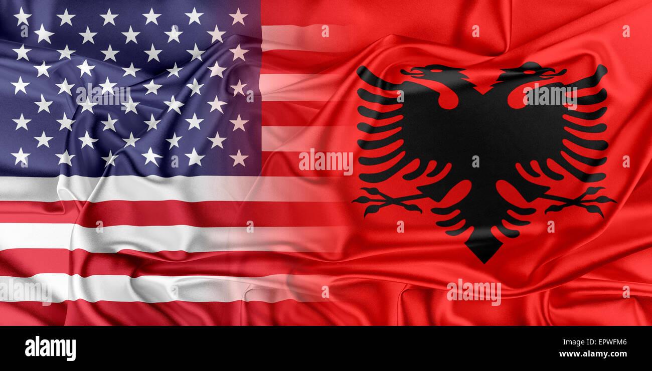 USA and Albania. - Stock Image
