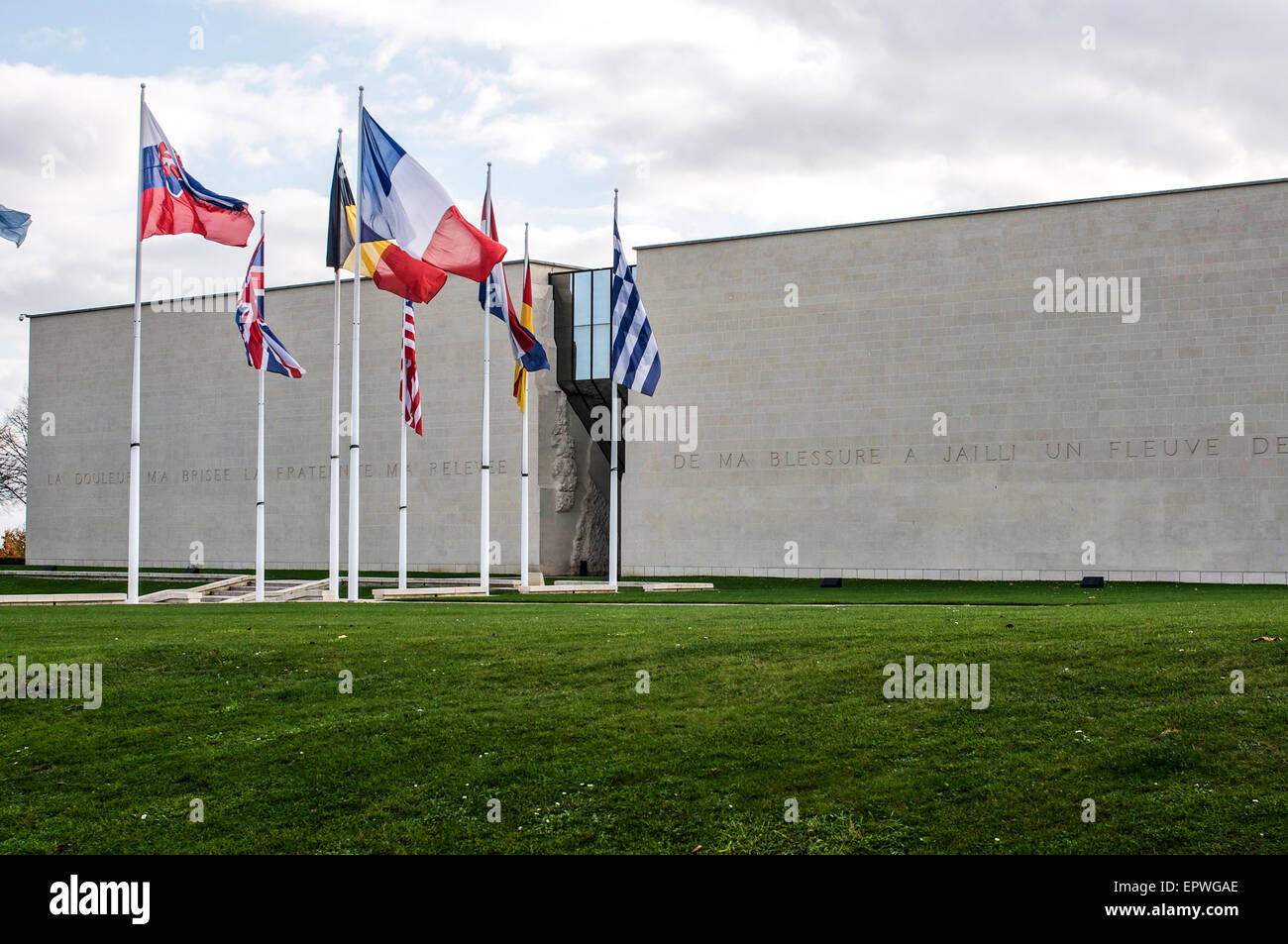 Exterior of the contemporary building housing the Caen Peace Memorial war museum in Caen, Normandy, France. - Stock Image