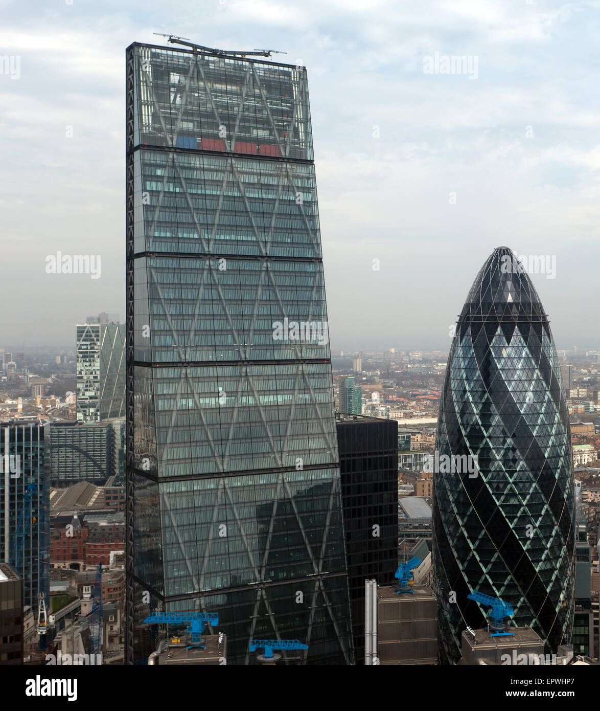 Arial view of 122 Leadenhall Street (The Cheesegrater), and 30 St Mary Axe  (The Gherkin) taken from the Sky Garden. - Stock Image