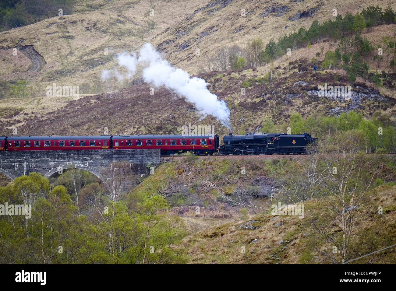The Fort William To Mallaig Steam Train is popular with tourists and railway enthusiasts Stock Photo