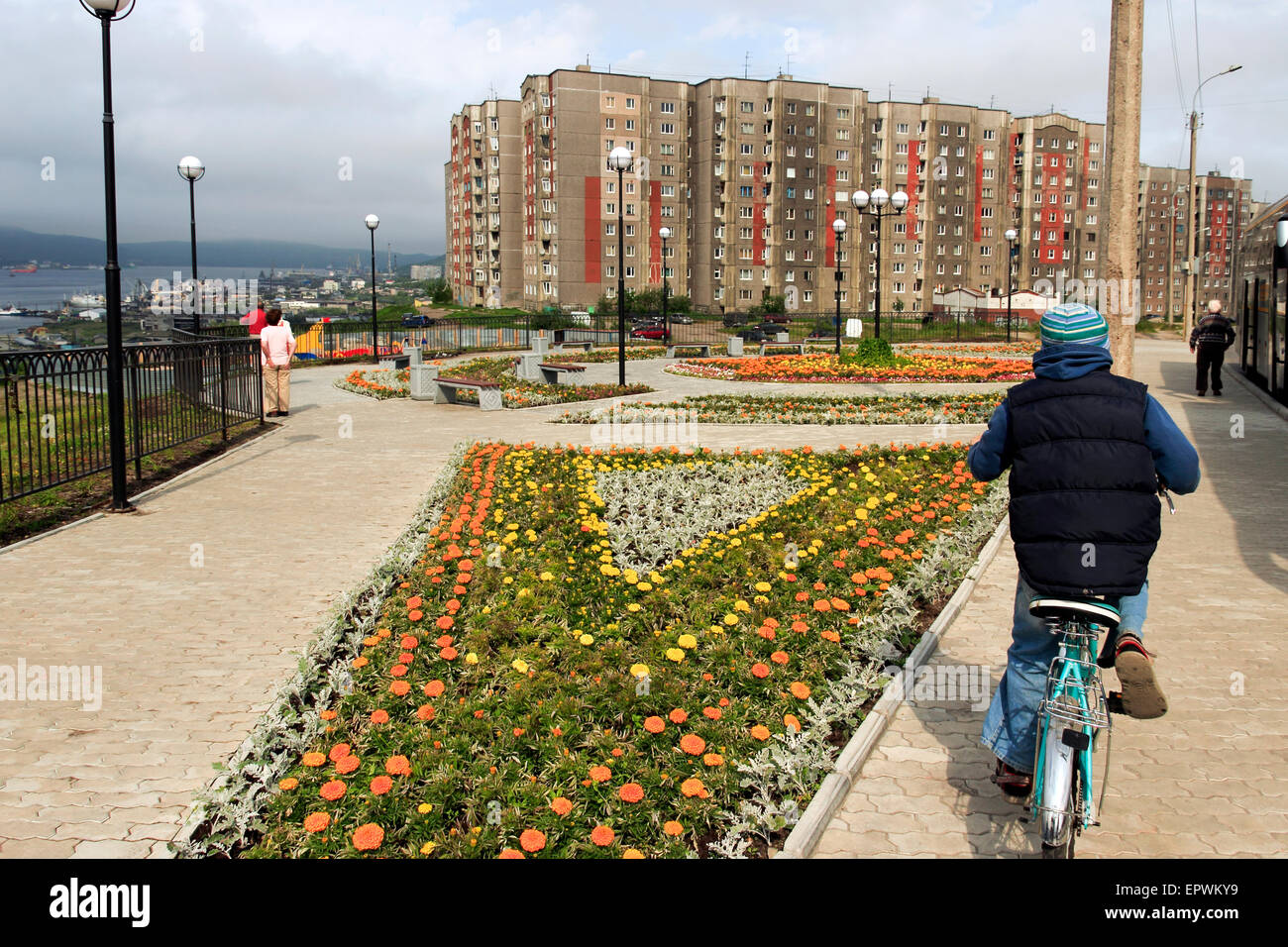 Housing estate overlooking the Port of Murmansk, Russia - Stock Image