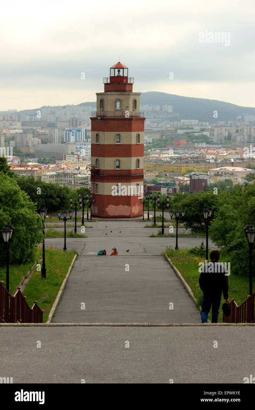 Decorative Lighthouse Memorial, Murmansk, Russia - Stock Image