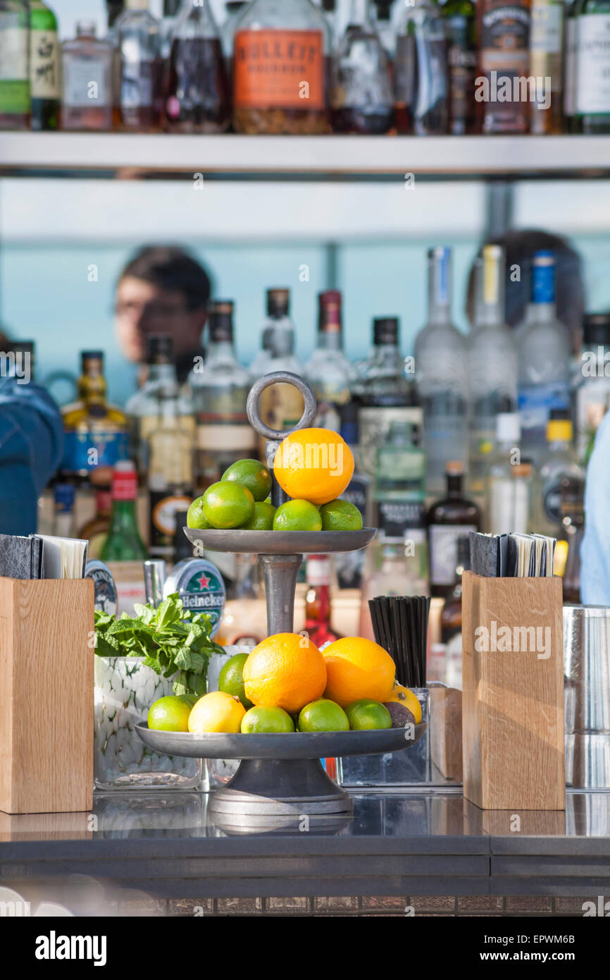Sky Pod Bar in the Sky Garden at the top of the Walkie Talkie building at 20 Fenchurch Street, London - Stock Image